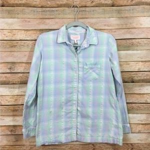 Victoria's Secret Button Down Plaid Pajama Top XS